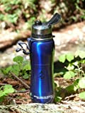 NEW 2016 Eco 700 ml Dark metallic Blue 'Fill2 Pure' 100% stainless steel micro purification filter pure water bottle with dustcap 1600 litre