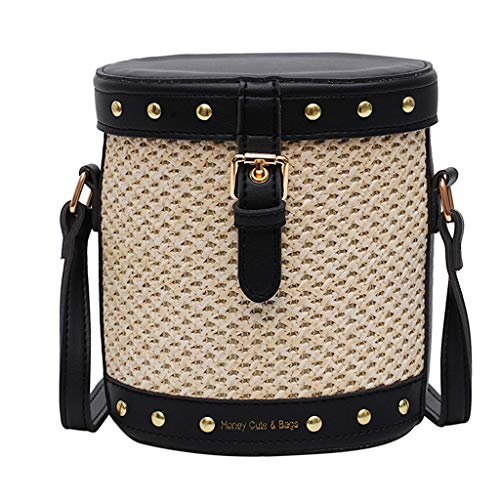 Mitlfuny handbemalte Ledertasche, Schultertasche, Geschenk, Handgefertigte Tasche,Frauen-Strand-Niet-dekorative Straw Bucket Bag Sackleinen Square Bag Messenger Bag -