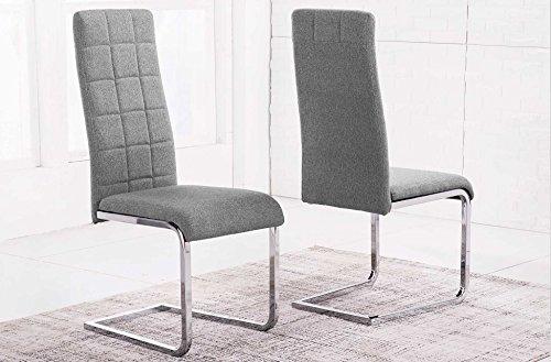 Silla comedor tapizada modelo COMET tejido Elegance color gris ceniza - Sedutahome