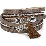 styleBREAKER Wickelarmband mit Strass, Quaste und Glücksklee Anhänger, Kette und Animal Print, Armband, Damen 05040033