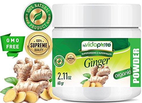 myVidaPure polvo de jengibre orgánico. 100% Pure Natural RAW Sin Gluten, Sin Procesar, Sin GMO. SUPER ALIMENTOS. Para salud, repostería, belleza, cocina y suplementos dietéticos. 2.11 oz - 60 gr