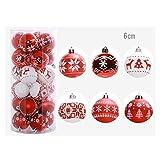 Weihnachtskugeln, Weihnachtskugeln Weihnachtsbaumkugeln Set 24 Stück bis Ø 6 cm Rot, gold, silber Christbaumschmuck Weihnachtsdeko