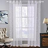 GWELL Weiß Transparent Gardinen Ösenschal Vorhang mit Ösen Dekoschal für Wohnzimmer Schlafzimmer 1er-Pack Muster-B 240x140cm(HxB)