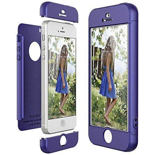 CE-Link Funda para Apple iPhone 5 5S Se Rigida 360 Grados Integral, Carcasa iPhone 5S Silicona Snap On Diseño Antigolpes Choque Absorción, iPhone Se Case Bumper 3 en 1 Estructura - Azul