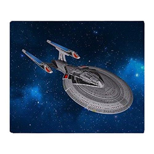 CafePress – StarTrek 1701E Starry Space – Weiche Fleece-Überwurfdecke, 127 x 152 cm, Stadion-Decke 50x60 weiß