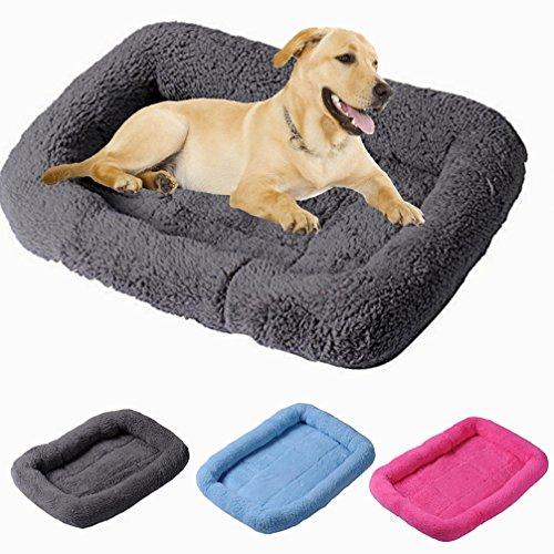 Hianiquaime cozy peluche cane materassino cuccia morbida calda gatto sofa cuscino lavabile pet letto rettangolare per taglia piccola media cuccioli cani gatti conigli grigio l