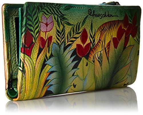 20% di sconto fino al 10 giugno , Anuschka borse in pelle di lusso dipinte a mano , portafogli multi - colorato per le donne ,1088 Flying Jewels Rousseau's Jungle