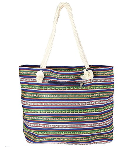 caripe Strandtasche Shopper Anker Streifen Schultertasche - marhe Muster-1 - XL