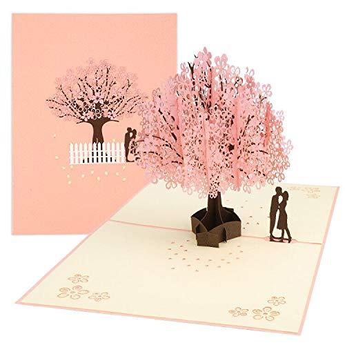 3D Karte, Pop Up Kirschblüte Liebhaber Hochzeitskarte für Meisten Anlässe, Romantik Faltkarte, Grußkarte Valentinstag Karte, Geburtstagskarte für Sie, Glückwunschkarten mit Umschlag