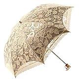 Sonnenschutz Regenschirm Sonnenschirm mit Aufbewahrungstasche,Damen,Anti UV,Tragbar Falten,Lace,Eleganz,Gelb,Beetest
