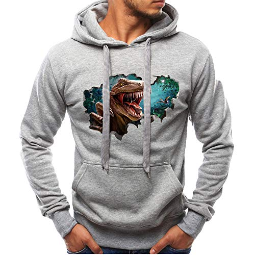 ZIYOU 3D Bedruckte Kapuzenpullover Herren Mode Slim fit Pulli Beiläufige Langarm Kapuze Sweatshirt Outwear Männer Pulli Hoodie Oberteile (Grau,EU-48 / CN-L)