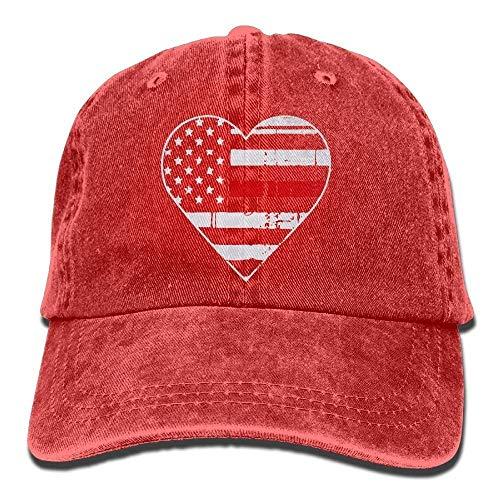 Men Women's Thin Red Line Heart Firefighter Vintage Cotton Denim Baseball Cap Hat