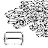 Alcoon 30pièces Slide Boucle métallique 2,5cm Triglide diapositives rectangle réglable en toile Slider pour attaches, sangle, Sac à dos DIY Accessoires Argent