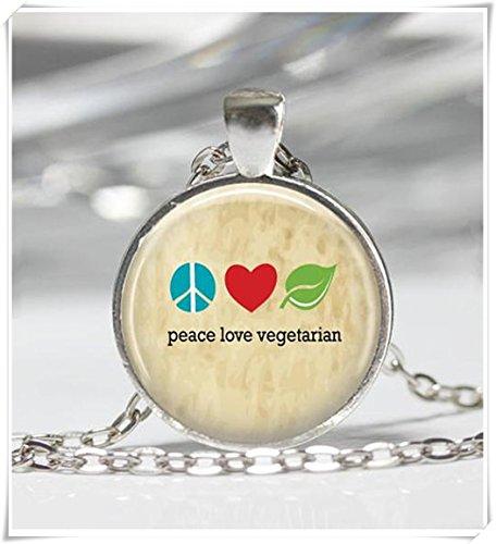 Vegetariana collar paz amor vegetariana vegana, los amantes de los Veggie arte colgante
