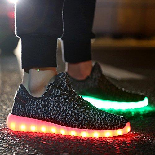 ipretty Chaussures de sport avec LED lumineux Unisexe Sneakers 7Couleur clignotant USB charger Chaussures de Course Chaussures d'extérieur pour homme et femme Noir