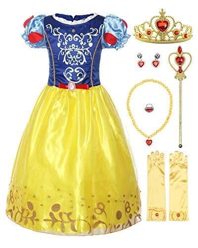 Mädchen Kostüm Muster Tanz - ReliBeauty Mädchen Kurzarm Prinzessin Kleid Schneewittchen Retro Muster Puffärmel Falten Kostüme, Blau&Gelb(mit Zubehör), 140