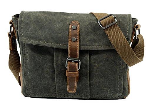 Wasserdicht Vintage Umhängetasche, DAFROH Herren Leder Canvas Messenger Bag Schultertasche Aktentasche 10 Zoll Laptoptasche Notebooktasche aus Canvas und Leder (Umhängetasche: Dunkelgrau) Umhängetasche: Armee grün