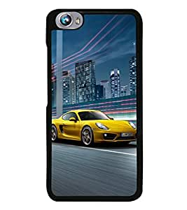 Fuson Premium 2D Back Case Cover Race car With yellow Background Degined For Micromax Canvas Fire 4 A107