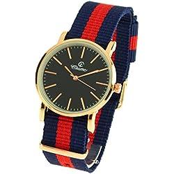 montre-concept-Multi-Coloured Round Colour Rose Gold Black Dial Nylon Bracelet Men's Analogue Watch-mab-1-0092