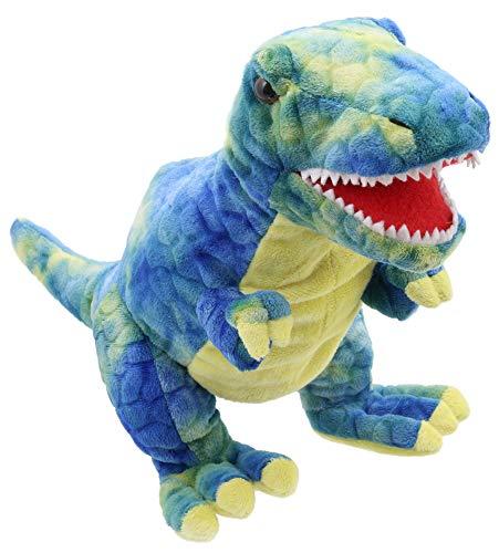 Lashuma Plüsch - Handpuppe Dinosaurier T-Rex blau gelb | Plüschtier Stoffhandpuppe ca. 28 cm