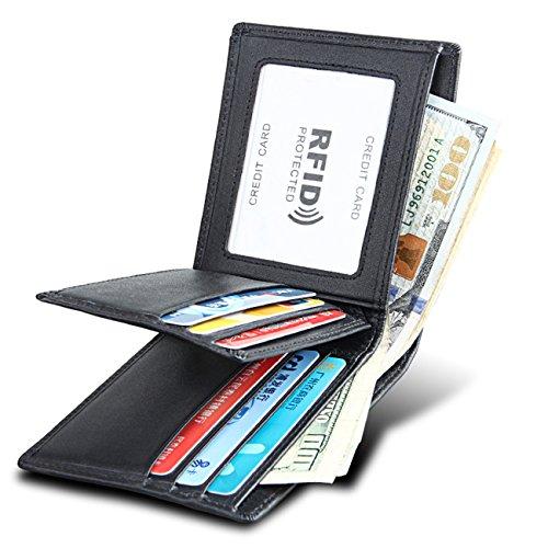 Kyerivs RFID Blocking Echtes Leder Brieftasche für Männer, Business Bifold Herren Brieftasche Schutz mit 2 ID Fenster (Schwarz) (Id-fenster-schwarz-herren-geldbörsen)