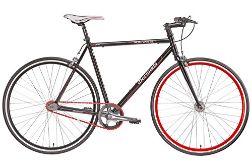 fixie 28 zoll singlespeed retro fahrrad in schwarz rot 28 fitnessbike fixed gear rennrad bike. Black Bedroom Furniture Sets. Home Design Ideas