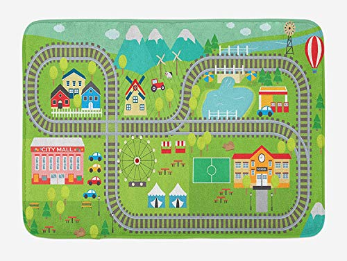 NasNew Kid's Activity Bath Mat, Train Tracks with Colorful Town School City Mall and Amusement Park Fair, Plush Bathroom Decor Mat with Non Slip Backing, 31.69 X 19.88 Inches, Multicolor