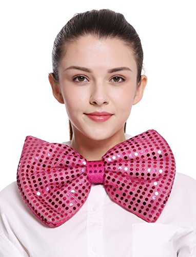 DRESS ME UP - BB-041-rosy XXL Fliege Bowtie Binder riesig rosa pink Pailletten Clown Zirkus Karneval (Varieté Zirkus Kostüm)