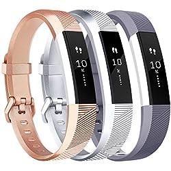 Tobfit Bracelet pour Fitbit Alta/Fitbit Alta HR Replacement en TPU Confortable Réglable Sport Bracelet Accessorie pour Fitbit Alta et Alta HR (No Tracker) (3-Pack Rose Gold+Argent+Gris, Petit)