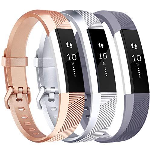 Tobfit Armband für Fitbit Alta HR Armband, Alta Armband Verstellbar Weich Ersatz Armbänder für Fitbit Alta HR und Fitbit Alta (Keine Uhr) (3-Pack Rose Gold+Silber+Grau, Kleine)