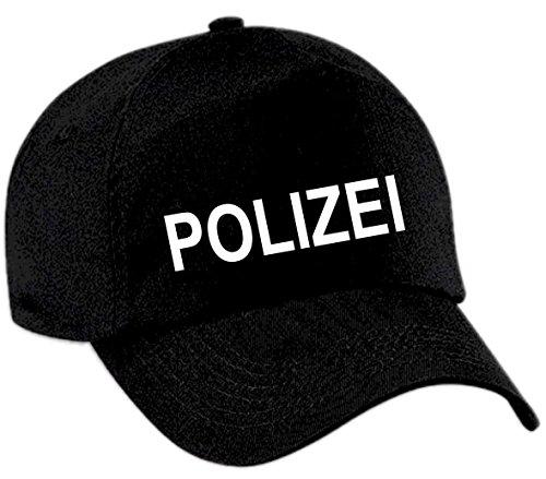 Holashirts Mallorca T-Shirt Polizei Bitte Folgen Police Fasching-Shirt Funshirt Kostüm-Tshirt (Cap Verstellbar, Cap Schwarz)