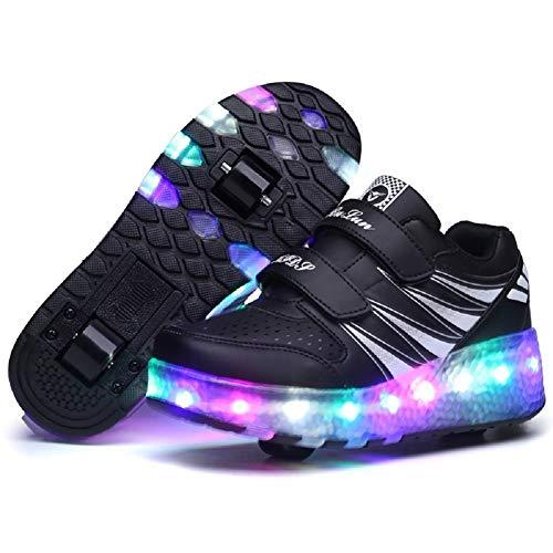 HappyHome Roller Skates Schuhe Mädchen Jungen Roller Schuhe Kinder Rad Schuhe Roller Sneakers Schuhe mit Rädern für Kinder (Tasten Skate Roller)