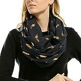 Squarex doux bronzante Plume d'impression cou Foulard écharpes de silencieux pour femme, bleu marine, Size:70x180cm