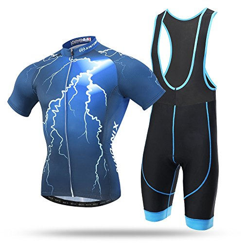 Pinjeer Lightning Pattern Radfahren Kleidung Männer Prime Sommer Anzug Jersey Shorts Ärmel Männer Quick Dry für Sport/Outdoors (Color : with Suspenders, Größe : M) (Lightning Dry Short)