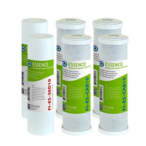 APEC filter-set-esx2-2mit hoher Kapazität für pre-filter für Essence-Serie Umkehrosmose Wasserfilter-System, Stufe 1, 2& 3Stück 2Sediment Filter und 4, Carbon, Schwarz (Serie Umkehrosmose-system)