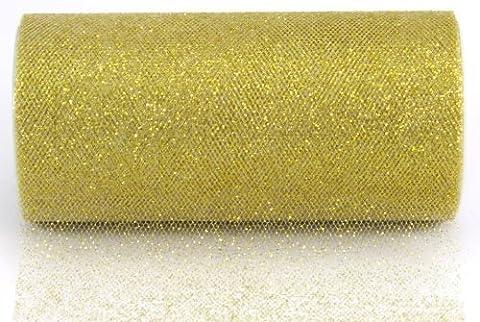 YCNK 6 Zoll 25 Yard-Funkeln-Tulle-Rollen-Hochzeits-Geschenk-Bogen-Fertigkeit-Dekor-Ballettröckchen-Kleid-Partei-Dekorationen-Tabellen-Schärpen (Golden)