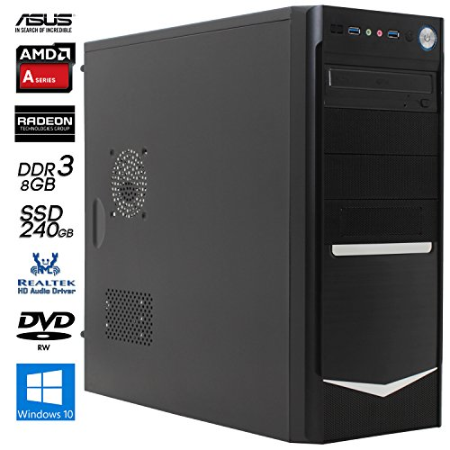 SNOGARD OfficeLine PC | AMD A6-7400K | 8GB DDR3 | 240GB SSD | Radeon R5 | W10Pro | Desktop Komplett System | Multimedia und Internet Computer