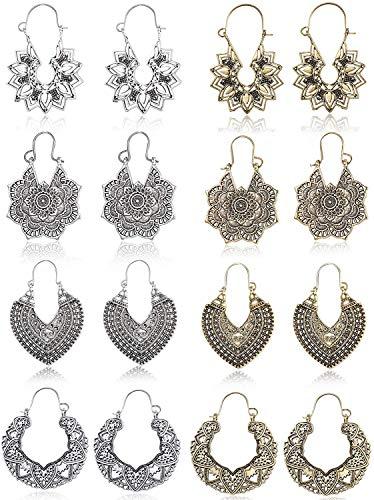 Cassieca 8 paia vintage orecchino per donne ragazze etnico tibetano ciondolo orecchini hoop mandala boho orecchino set gioielli