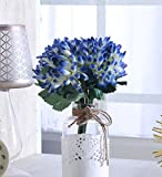 #9: Fourwalls Artificial Polyester and Plastic Chrysanthemum Flower Bunch (10 cm x 10 cm x 30 cm, Blue)
