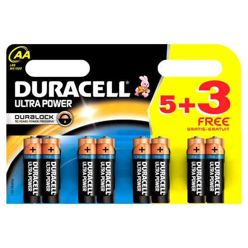 DURACELL Ultra Power Pack de 5 Piles Alcaline AA Multicolore