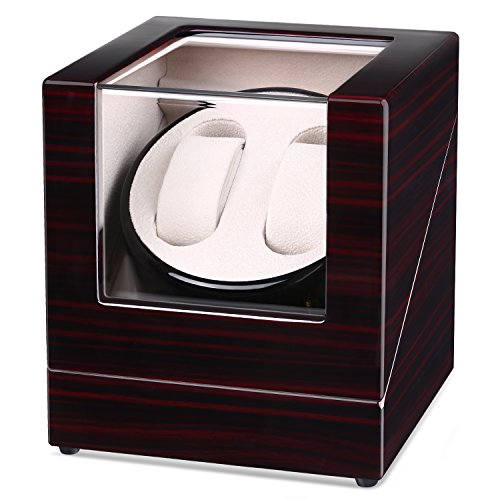 Uhrenbeweger INTEY Watch Winder für 2 Uhren Uhrendreher Uhrenbox mit verschiedenen Bewegungs-Modi, AC-Adapter enthalten, flüsterleise (Riemenantrieb Motor)