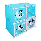 Baby Grow Kid's Wardrobe Cabinet 4 Door Storage Organizer Almirah Rack Shelf for Clothes Living Room Bedroom Gifting (Blue Mickey Mouse)