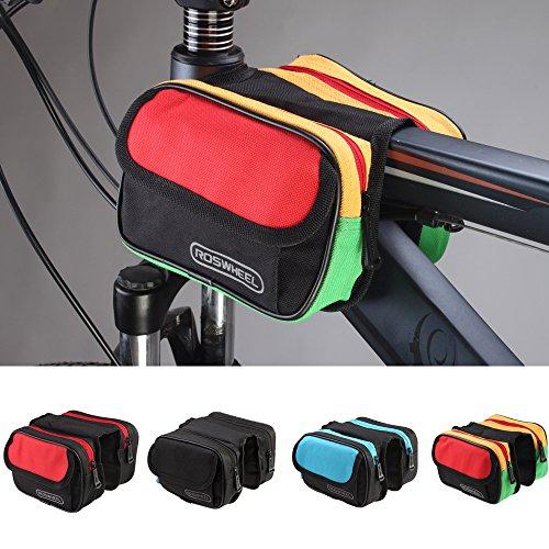 anizun (TM) ROSWHEEL 1,5l Mountain Road MTB Bike Fahrradtasche Front Top Tube Rahmen Pannier Double Tasche Rot
