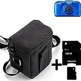 K-S-Trade Para Nikon Coolpix S33 Cámara Bolsa Funda De Hombro Estuche Bolso Compacto Resisten A Los Golpes Protección, Negro + 16GB Tarjeta De Memoria