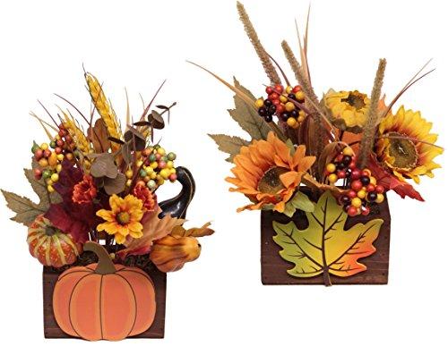Flair Flower Herbstgesteck im Holz, 2er Set, gelb/orange, 26 x 16 x 13 cm