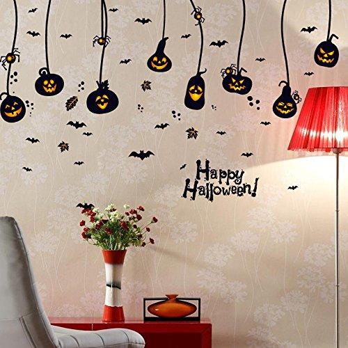 Halloween Kürbis Laterne Kronleuchter Glas Schaufenster Hintergrund Wand Dekorativer Aufkleber 60 X 90Cm -