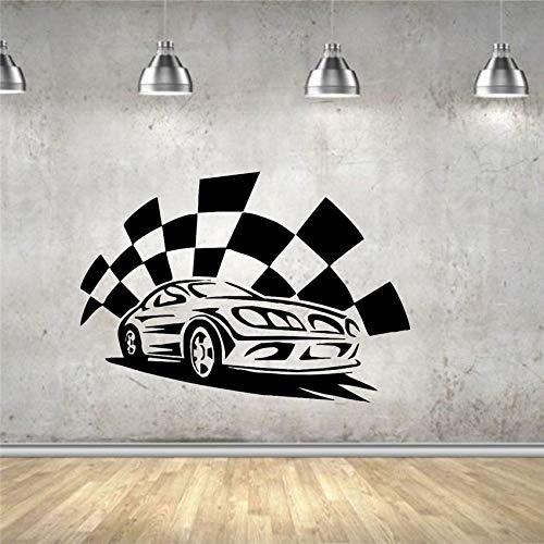 Wandaufkleber Wandaufkleber Vinyl Dekoration Sportwagen Racer Finish Gewinner Modernes Design Life Boy Room Wandaufkleber 58 X 84 CM