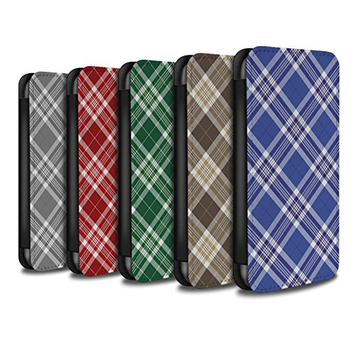 Stuff4 Coque/Etui/Housse Cuir PU Case/Cover pour Apple iPhone X/10 / Brun Design / Tartan Pique-Nique Motif Collection Pack 12pcs