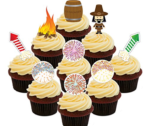 Bonfire Night Party Pack – Essbare Cupcake Topper – Stand-Up Wafer Kuchen Dekorationen, Pack of 72