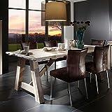 Esszimmer Tisch aus Balkeneiche White Wash Optik Breite 260 cm Tiefe 100 cm Pharao24